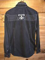 Affliction Premium Black Men's Long Sleeve Shirt Slim Fit Sz Large Live Fast 73