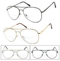 1 or 2 Pairs Metal Frame Aviator Bifocal Reading Glasses Spring Hinge Temples