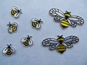 Embroidered bees / wasps 5 pieces small OR 2 pieces large IRON-ON appliques