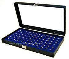 Glass Top Lid Blue 72 Ring Display Organizer Storage Boxes Case