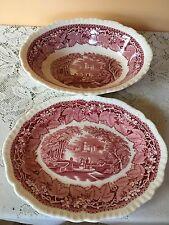 mason's vista pink england 9'' oval serving platter & 9'' oval vegetable bowl