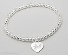 "6"" Solid Sterling Silver Stretch Slip-on Love Heart Children's Ball Bracelet 3g"