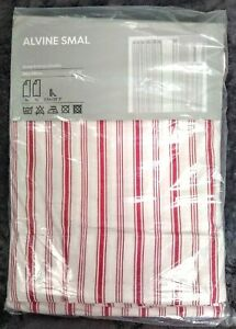 IKEA Alvine Smal Pair Curtains TWO PANELS 57x98 Red White Ticking Stripe Adjust