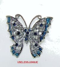 Butterfly Brooch Pin #3011 Antique Silver Plated Black Rhinestone