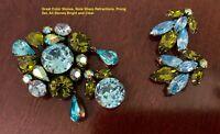 Vintage Signed Regency Demi Blue and Green Rhinestone Brooch & Earring Set
