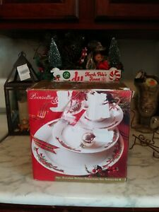16 Piece Holiday Dinnerware Set Poinsettia & Ribbons Fine China Service For 4