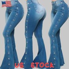 Women High Waist Skinny Denim Jeans Flare Wide Leg Trousers Bell Bottom Pants