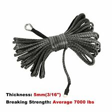 """3/16"""" x 50' 7000Lbs Gray Synthetic Winch Line Cable Rope with Sleeve Atv Utv"""