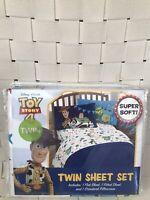 Disney Pixar Toy Story 4 3 Piece Twin Sheet Set Buzz Woody New