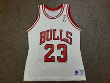 Vintage 90s Champion NBA Chicago Bulls #23 Michael Jordan Jersey Shirt White 40
