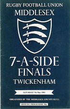 Middlesex Sevens 1983 Rugby programa Richmond, Waterloo & Melrose