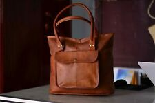 Handmade Vintage Brown Genuine Leather Shoulder Tote Handbag Satchel Bag Purse
