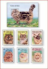 SAH9908 Cats 6 stamps and block