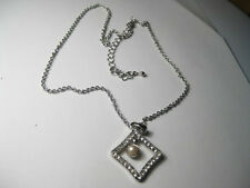 Vintage rectangular rhinestone open diamond with pearl drop necklace