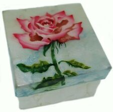 PINK ROSE   ~  CAPIZ SHELL TRINKET BOX     1778*