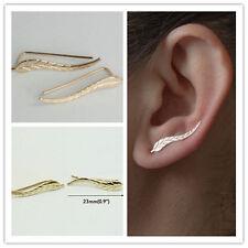 Silver Feather Ear Climber Earrings Set Cuffs Pins Leaf Ear Lobe Crawler New UK