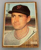 1962 Topps # 322 Alvin Al Dark Baseball Card San Francisco Giants SF