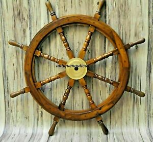 Nautical 36 inch Wooden Ship Steering Wheel Pirate brass finish  Décor gift item