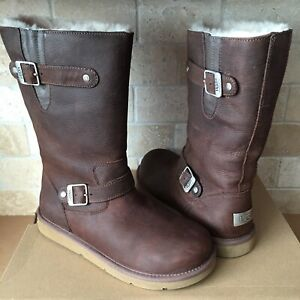 UGG KENSINGTON TOAST BROWN LEATHER FUR BUCKLE SHORT BOOTS SIZE US 8 WOMENS