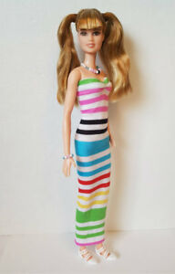 Fits TALL Body BARBIE DOLL CLOTHES DRESS + JEWELRY Handmade Fashion NO DOLL d4e