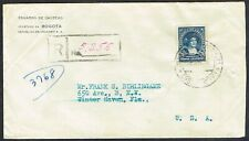 1929 Colombia Registered Bogota to Florida with Two Box Handstamp Renumbered USA
