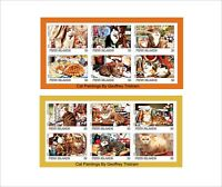 CATS CAT PAINTING 2 SOUVENIR SHEETS MNH IMPERFORATED