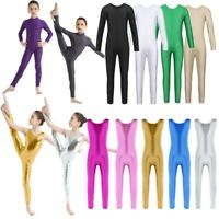 US Girls Gymnastics Leotard Full Unitard One-Piece Dancewear Jumpsuit Catsuit
