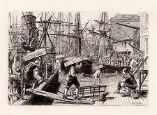 Detailed Matthew RIDLEY SIGNED ORIGINAL 1800s Etching LONDON BRIDGE Framed COA