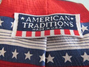 MEN'S  AMERICAN TRADITIONS RED/WHITE/ BLUE WITH STARS TIE MADE IN USA F-SHPPING