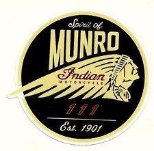 """SPIRIT OF MUNRO"" Vinyl Decal Sticker INDIAN MOTORCYCLE EST. 1901 Scout Chief"