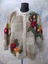 vintage cream & beige brown check poppy pattern mohair cardigan
