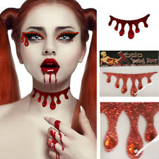 Red Dripping Blood Vampire Neck Choker Body Sticker Makeup Glitter Rhinestones