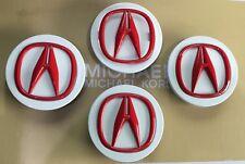 "ACURA RL CL TL RDX MDX TSX Chrome Center Caps OEM ""White /Red""NEW 69 MM (4pcs)"