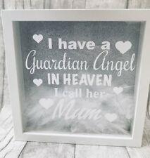 Personalised Angel taux Feather Box Frame Remembrance Poison SPECIAL Family Love