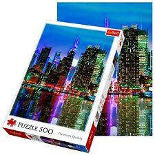 Trefl 500 piece adulte large manhattan new york pleine lune sol jigsaw puzzle neuf
