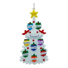 NAME PERSONALIZED Decorating Family Tree - Family of 8 Christmas Ornament Gift