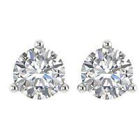 Solitaire Studs Earrings Martini Set Natural Diamond I1 G 0.65 Ct 14K White Gold