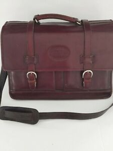 Great vintage BUGATTI messenger briefcase wine color leather work laptop