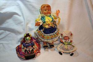 3 Trachtenpuppen - Folklore Puppen, 1Grössere und 2 Kleinere