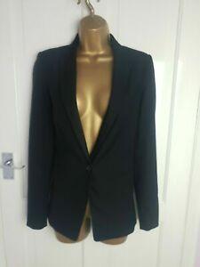 ZARA Size S UK Size 10 Black Smart Formal Business Casual Blazer Jacket