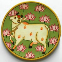 Round Wall Hanging  Plate Wooden Cow Painting God Decorative Unique Hinduism