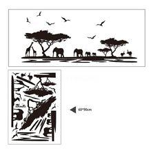 Home Decor 1X African Safari Themed Wall Sticker Jungle Animal Tree Mural NP2C