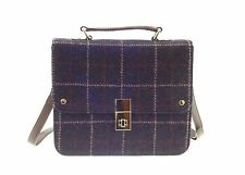 Ladies Authentic Harris Tweed And Leather Square Handbag Pink Overcheck LB1401