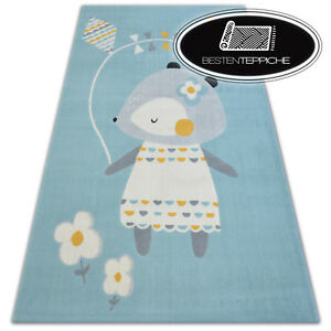 Modern Children Rug Pastel Mouse Soft and Tight Woven Balta Low-Pile