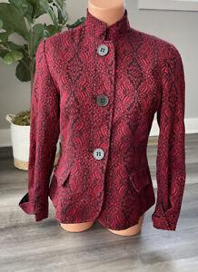 Coldwater Creek Red Black Wool Blend Blazer P8 Petites 8 Steampunk