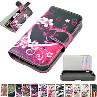 Multi Colour Flip Leather Skin Card Wallet Cover Case For Apple iPhone 4 4S 4G