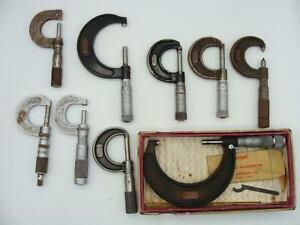 Vintage Lot of Frozen or Oxidized Micrometers Needing Care Lufkin, Starrett, B&S