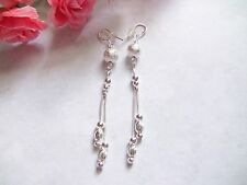 """Women's Dangle Earrings Brilliant Silver-Toned Pierced 2 Strand Balls 3"""" Long"""