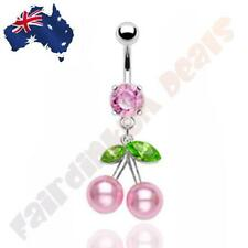 316L Surgical Steel Pink Jewelled Belly Ring with Pink Pearl Cherry Dangle