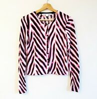 Diane Von Furstenberg Size S Pink Black Cream Print Cotton Silk Knit Cardigan